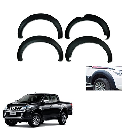 "Powerwarauto Fender Flares Wheel Matte Black 6"" 4 Pc Trim For Mitsubishi L200 Triton 4Dr Double Cab 2015 2016 2017 2018"