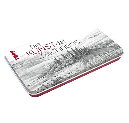 Die Kunst des Zeichnens Zeichenmaterial mit Metalldose: Der perfekte Einstieg fürs Zeichnen: 3 Bleistifte (H, HB, 2B), 2 Kohlestifte (Schwarz, Weiß), ... Spitzer in Designdose (19 x 11,5 x 1,9 cm)