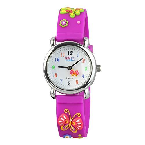 Tee-Wee Uhr für Kinder Schmetterling Kautschuk Armband lila Analoguhr D3UW985V