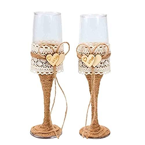 Elegantes Copas de Cava Decorativas de Cristal para Brindis de Novios. Vajillas y Complementos. Decoración Hogar. Regalos Originales. Bodas.CC