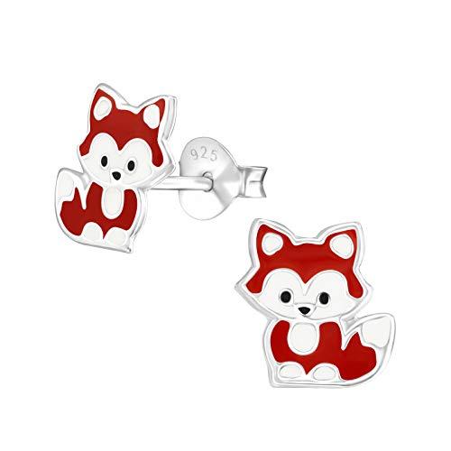 Laimons - Orecchini per bambine e ragazze, a forma di volpe, 8 x 9 mm, colore: rosso-marrone, bianco, argento Sterling 925