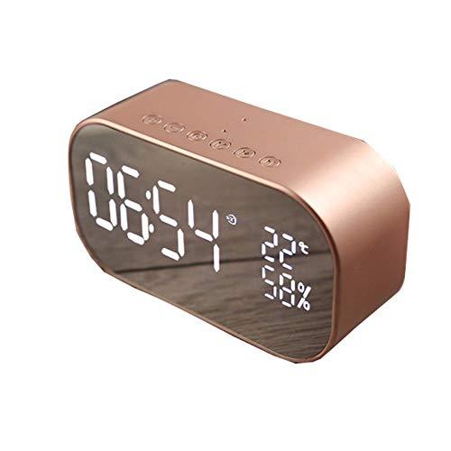 Réveil Bluetooth à LED sans fil - Double haut-parleur avec surface miroir - Rappel de temps - Décoration de chambre, rose gold, Taille unique