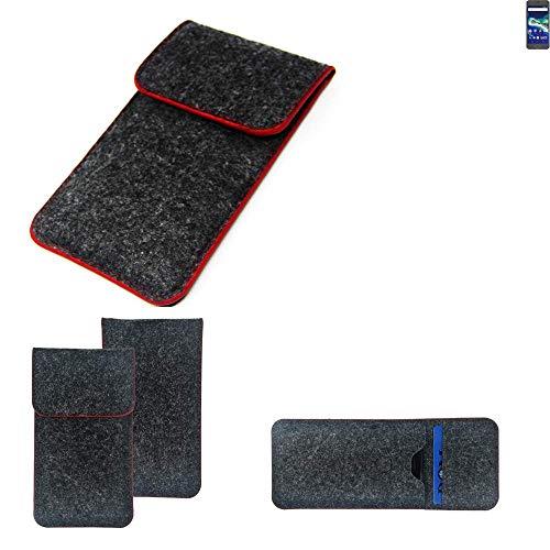 K-S-Trade Handy Schutz Hülle Für General Mobile GM 6 Schutzhülle Handyhülle Filztasche Pouch Tasche Hülle Sleeve Filzhülle Dunkelgrau Roter Rand