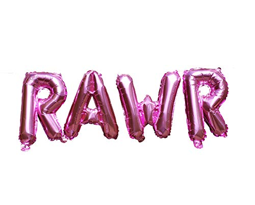 RAWR Balloons by PinkFish Shop - Pink Foil 16 inch Balloons for Dinosaur Birthday Party Package Decorations Supplies TREX Dino