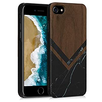 kwmobile Case Compatible with Apple iPhone 7/8 / SE  2020  - Wood Case Hard Wooden Design Cover - Wood and Marble Black/White/Dark Brown