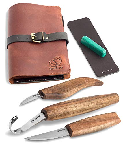 Wood Carving Tools Set for Spoon Carving 3 Knives in Tools Roll Leather Strop and Polishing Compound...