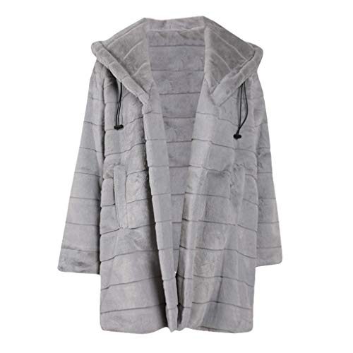 DNOQN Sweatjacke Bikerjacke Kunstlederjacke Wendemantel Langmantel Damen Winter Warm Plüsch Nachahmung Pelz Mantel Solide Lange Jacke Mit Kapuze Mantel