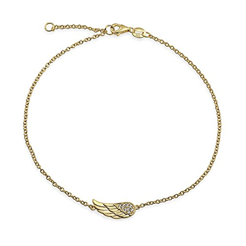 Bling Jewelry Delicate Protection Guardian Angel Wing Feather Anklet Charm CZ Anklet Link Bracelet for Women Teens 14K Gold Plated 925 Sterling Silver