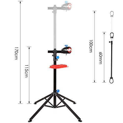 DECKEY Fahrradmontageständer mit Einstellbar Teleskopsständer 50-89cm,Höhenverstellbar 105-170 cm,360 ° Drehbare Klemme,Schnell Falten und Zerlegen,magnetische Ablage,bis 50kg,rutschfeste Matte