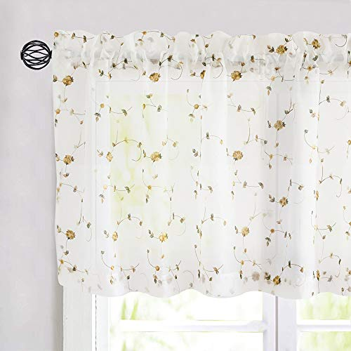 jinchan Sheer Valance Curtain Embroidered Curtains Delicate Rose Bud for Kitchen Living Room Gorgeous Romantic Floral Rod Pocket Aesthetic Disffuse Light Valance 1 Panel 18 inch Length Yellow