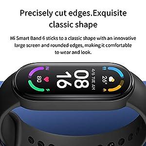 """Xiaomi Mi Band 6, Smart Band 6 Versión Global Pulsera de Actividad, Detección de Oxígeno en Sangre, Monitor de Frecuencia Cardíaca, Monitor de Sueño, Pantalla a Color AMOLED de 1,56"""", 5 ATM, Negro"""