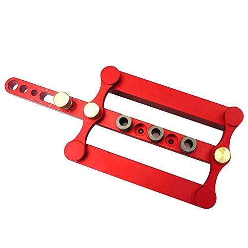 Zelfcentrerende Boormachine Jig, Precise Punch Locator boren Gereedschap, Houtbewerking Standsteller voor schrijnwerk, meubilair Manufacturing en Enthusiast,Red