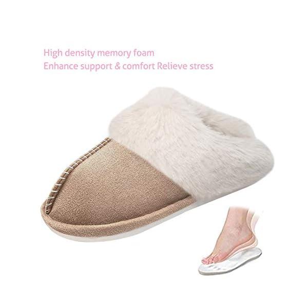NEDLEDK Women's Slippers Memory Foam Fluffy Slip on Faux Fur Slippers Anti-Slip Soft Plush Winter Warm House Slippers