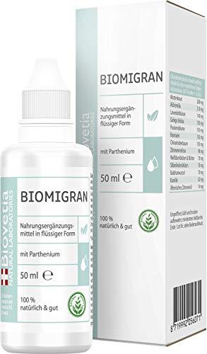 Biovetia Biomigran Anti Migräne Tropfen gegen Migräne und Kopfschmerzen, 100% natürliche Effektivformel zur einfachen Einnahme, 50ml