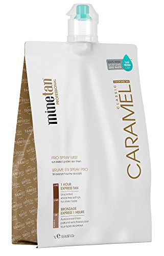 MineTan Spray Tan Solution - Caramel Pro Spray Mist - Salon Professional 1 Hour Express Tan For A Sunkissed, Golden Finish, 33.8 fl oz