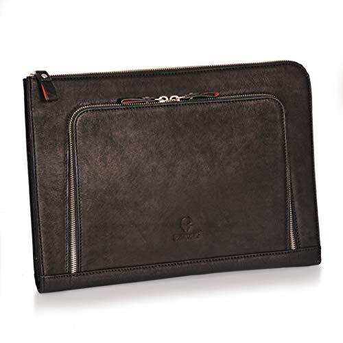DONBOLSO® Notebook Sleeve London schwarz - 13,3 Zoll DIN A4 Ultrabook Aktentasche aus Echtleder für Herren und Damen