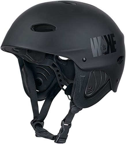 WAKETEC Helm WK8, Leichter Wassersport Helm mit Ohrenschutz für Wake- und Kiteboarden, Kanu- und Kajakfahren, anpassbar mit Drehradverstellsystem, CE EN 1385, Farbe:schwarz, Kopfumfang:57.5-60 cm