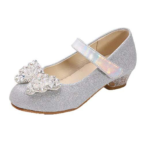 Zapatos de Cuero para niñas Ligeros Antideslizantes de Color sólido con Lazo Zapatos de Vestir Mary Jane Zapatos de Baile de Princesa de tacón bajo para niños