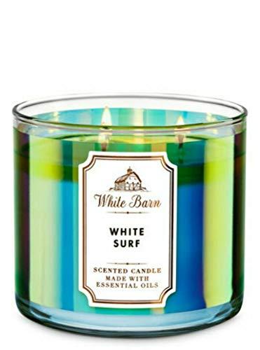 White Barn Bath & Body Works White SURF 3 Wick Candle 14.5 Oz