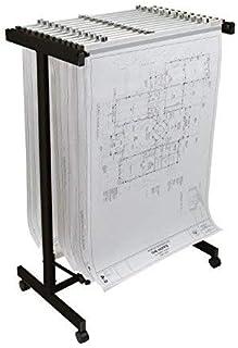 Adir Corp. Mobile Blueprint Storage - Horizontally Adjustable Vertical Poster Display Rack / Plans Holder - File Organizer...