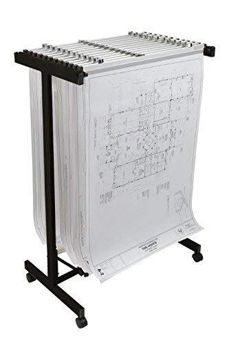 Adir Corp. Mobile Blueprint Storage - Horizontally Adjustable Vertical Poster Display Rack / Plans Holder - File Organizer Stand for Home, Office (Black)