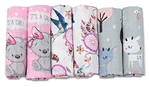 Mulltücher - Mullwindeln - 6er Pack 70x80 cm - Stoffwindeln, MADE IN EU, schadstoffgeprüft - Spucktücher Set für Mädchen – Baby Mullwindeln- Rosa – Grau