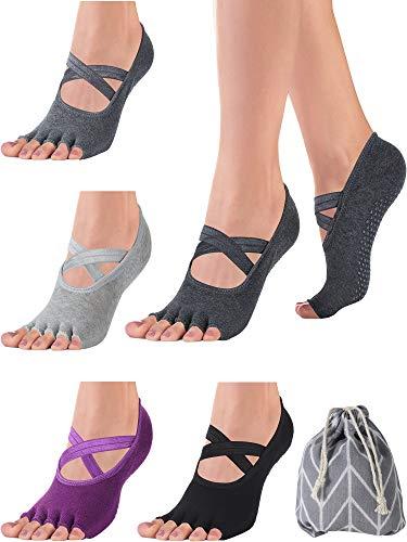 SATINIOR 4 Paar rutschfeste Zehenlos Yoga Socken mit Griffen Halber Zehe Socken für Damen Pilates Barre Tanz Ballet Kickboxing