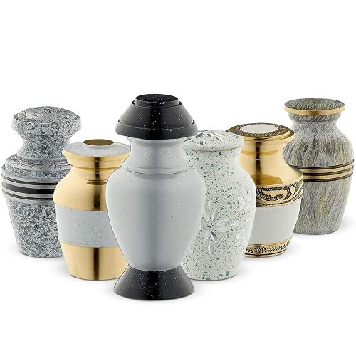 Urnas de cremación de recuerdo, color blanco (6 piezas), urnas de funeral pequeñas para cenizas humanas con caja de terciopelo, por Fedmax.