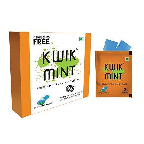 Kwik Mint - Sugar Free Cool Mint Mouth Freshener Oral Care Breath Strips - Pack of 1 (88 Strips)