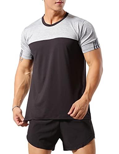 Muscle Alive Hombres Deportes Culturismo Camisetas Fitness Aptitud física Corriendo Tops MT1-Gray Black 2XL