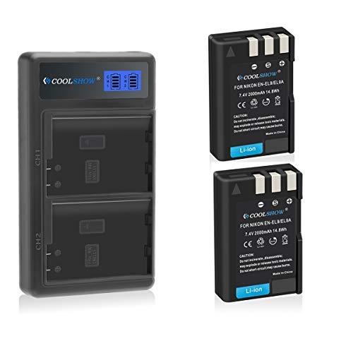 COOLSHOW EN-EL9 Batería de repuesto (2 unidades) con inteligencia LED USB ENEL9A...