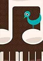 igsticker ポスター ウォールステッカー シール式ステッカー 飾り 1030×1456㎜ B0 写真 フォト 壁 インテリア おしゃれ 剥がせる wall sticker poster 005893 フラワー 音符 ピアノ 鳥