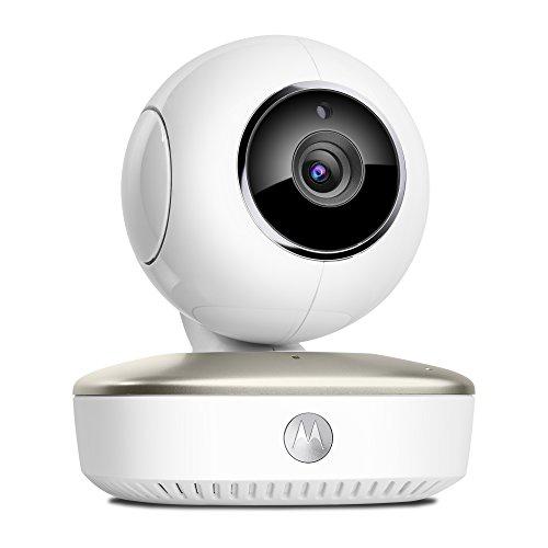 Motorola Smart Nursery Cam - Wi-Fi baby monitor video portatile con monitoraggio delle attività e strumenti di analisi smart, eco modo, rileva rumori, movimento, umidità e temperatura, Bianco