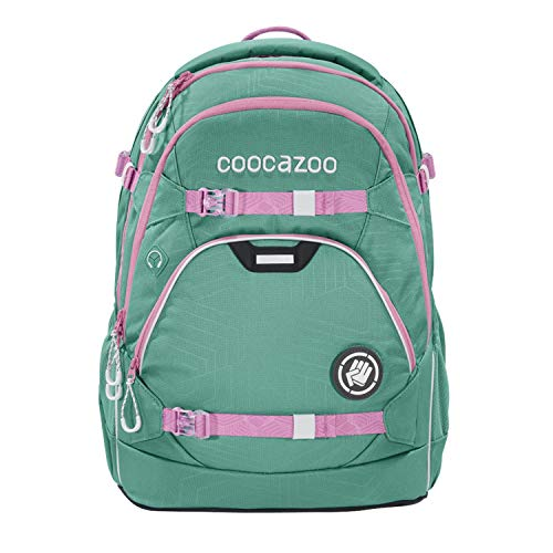 coocazoo Schulrucksack ScaleRale Springman grün-rosa, ergonomischer Tornister, höhenverstellbar mit Brustgurt und Hüftgurt für Mädchen ab der 5. Klasse, 30 Liter
