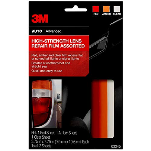 3M Auto High-Strength Lens Repair Film, Assorted Sheets: 1 Red, 1 Amber, 1 Clear