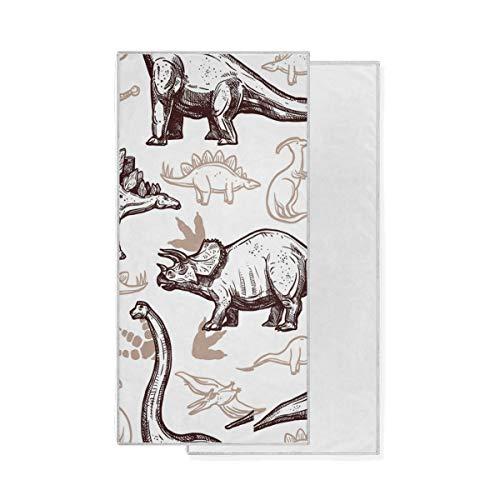 Gant de Toilette Ultra Doux Art Motif Ancien Animal Dinosaure Main Serviette Gant de Toilette Multifonctionnel Très Absorbant Bain