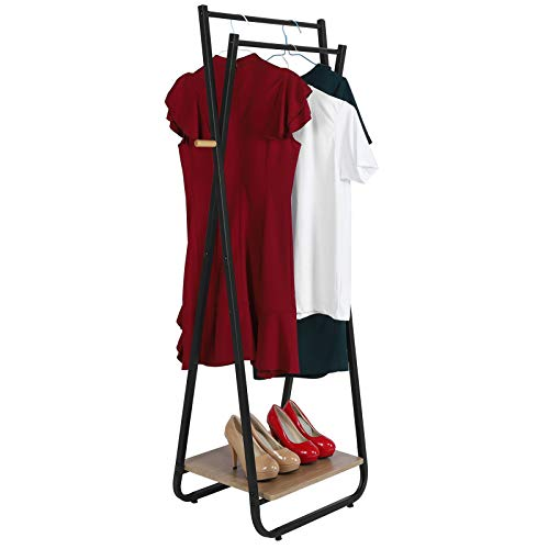 Clothes Rack,Metal Garment Drying Rack Floor Coat Rack Shoe Stand Freestanding Garment Clothes Rail with Wood Storage Shelves and Hanging Rail for Entrance Bedroom Basement,53x40x150cm