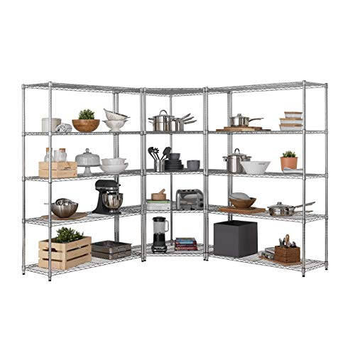 Heavy Duty 5 Tier Chrome Corner Storage Shelving Kit – 1 x 1838mm H x 907/670mm W x 457mm D with 2 x 1838mm H x 1212mm W x 457mm D With 100KG UDL FREE Next Working Day Delivery *
