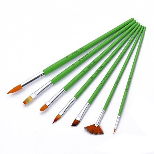 PIXNOR Set di artista pennello, Set di Pennello per Olio e Acrilico Pittura Artista - 7pcs