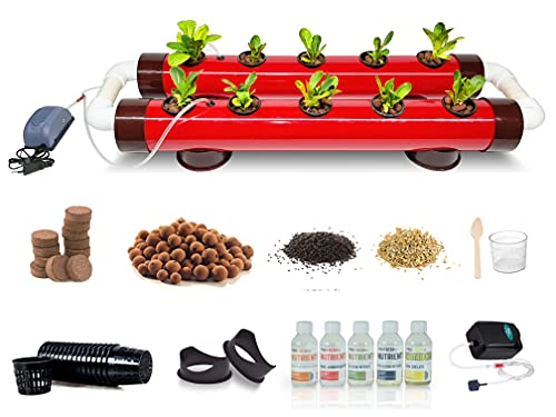 Pindfresh Hydroponics Kit for home - PindPipe Duo - 10 Plants, Good for Leafy Greens - Beginners hydroponic System - Reusable - for Indoor/Outdoor hydroponics - Seeds Included (red)