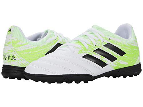 adidas Unisex-child Copa 20.3 Turf Soccer Shoe, White/Black/Signal Green, 13.5K