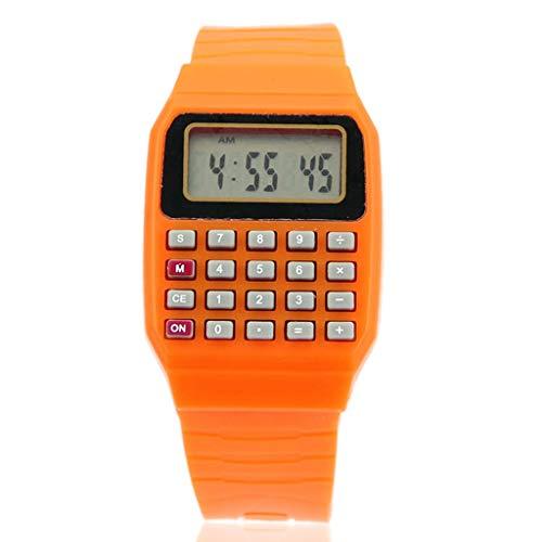BINGBIAN Fad Niños Silicona Fecha Multiusos Niños Calculadora Electrónica Reloj de Pulsera Niños Reloj