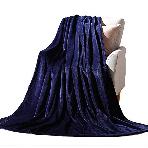 NANPIPER Flannel Fleece Navy Blue Blanket Throw Size Luxury Microfiber Soft Throw 50' x 65' Fluffy Solid Throw Blanket for Couch/Bed