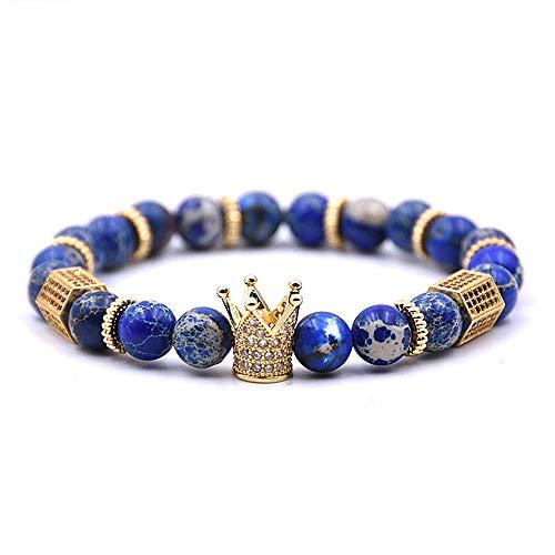 VACANALA 8mm Crown King Charm Bracelet for Men Women Black Matte Onyx Stone Beads, 7.9'