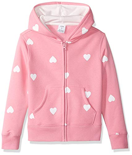 Amazon Essentials - Felpa in pile con cappuccio, con cerniera, da ragazza, Pink Heart, US XS (EU 104-110 CM)