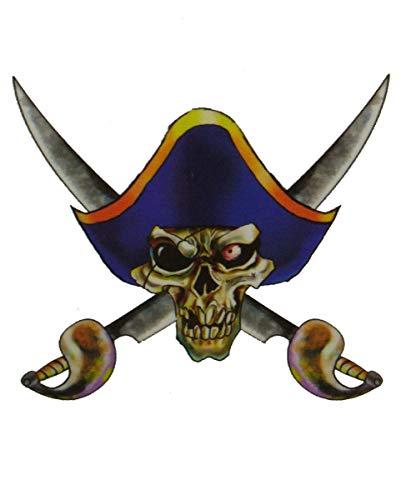 Horror-Shop Tatouage de Pirate avec Le Chapeau et Le Sabre