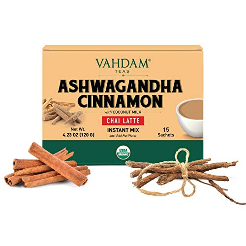 VAHDAM, ORGANIC INSTANT Masala Chai Latte - Ashwagandha Cinnamon (15 Sachets)   INSTANT Masala Chai Tea Powder Mix   Real Ingredients- Ashwagandha & Cinnamon with Vegan Coconut Milk   Improves sleep