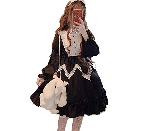 Japonés Gótico Lolita Vestido de las Mujeres Kawaii Palacio Princesa Arco de Encaje Dulce Vestidos Vintage Renacimiento de Hada Vestido de Fiesta Cosplay