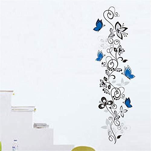 Ellepigy Pegatinas de pared con diseño de flores, color negro, impermeable, para decoración de fondo de televisión, decoración para el hogar