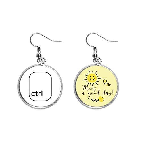 Keyboard-Symbol, Ctrl, Art-Deco-Stil, Geschenk, modisch, Ohrhänger, Sonnenblumen-Ohrringe